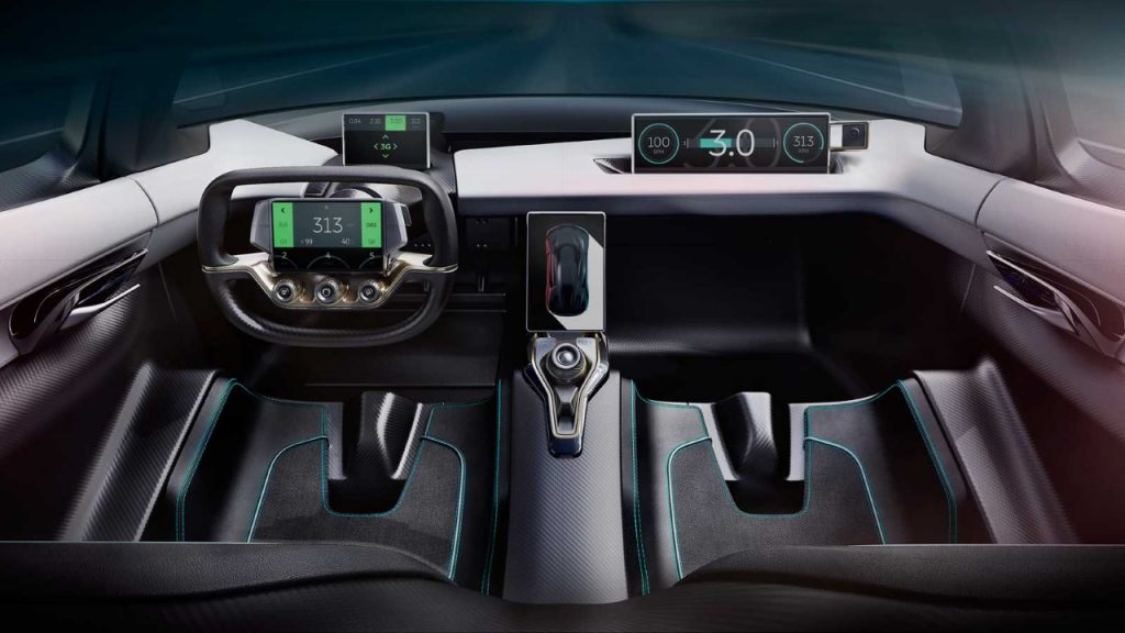 Interiorul e un soi de High Tech incrucisat cu Sports Car de circuit